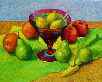 Fruit Painting - Three Lemons In A Glass Vase by Gainor Roberts