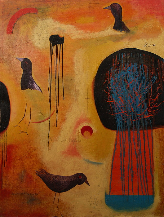 Three Little Birds Painting by Jacob  Wachira Ezigbo