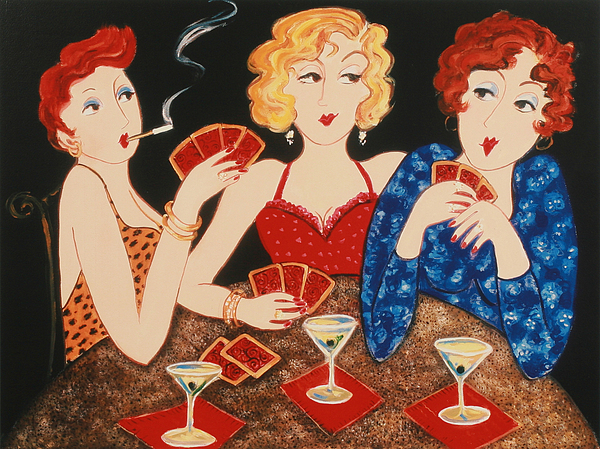 Playing Cards Painting - Three Of A Kind by Susan Rinehart