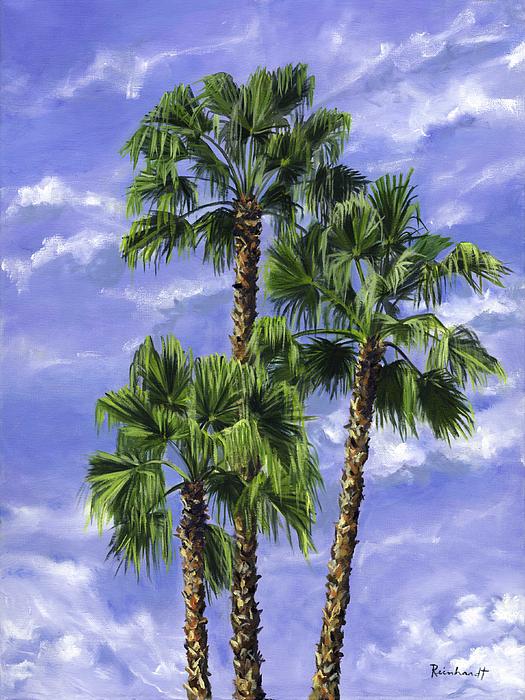 Three Palms Painting - Three Palms by Lisa Reinhardt