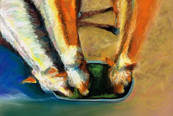 Horses Pastel - Three Palominos by Frances Marino