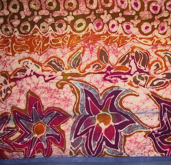 Batik Tapestry - Textile - Three Pets Quilt Detail II by Deva  Hymen