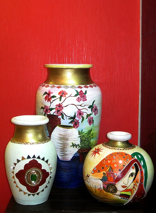 Pots Ceramic Art - Three Pots by Xafira Mendonsa
