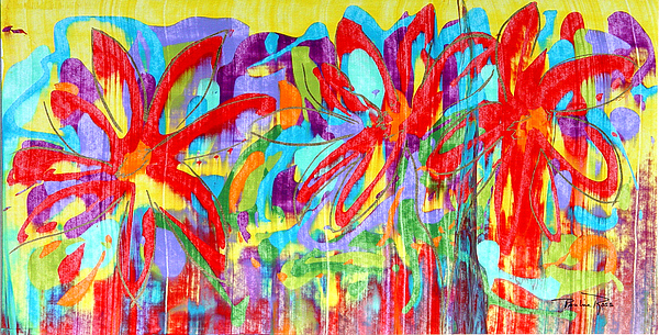 Abstract Flowers Painting - Three Reds by Pauline Ross