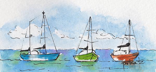 Impressionism Painting - Three Sailboats Near Tahiti by Pat Katz