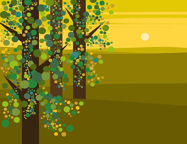 spring green three trees - photo #3