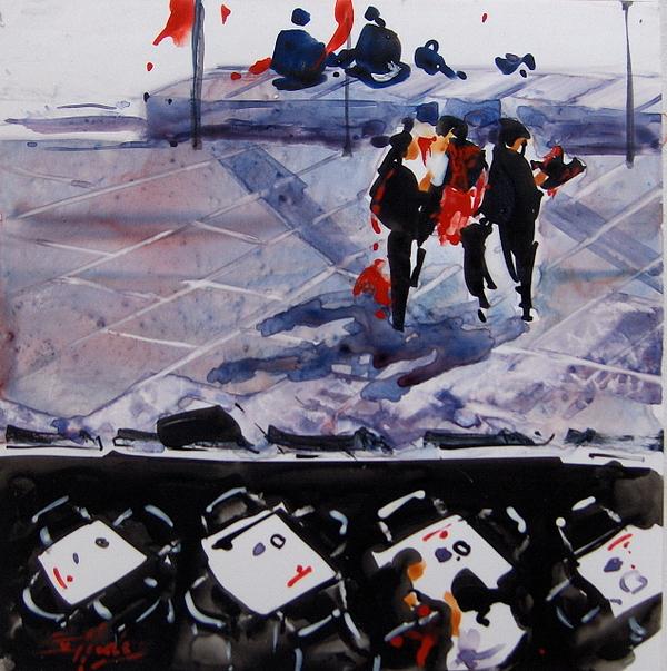 Urban Painting - Threes A Crowd by Ev Hales
