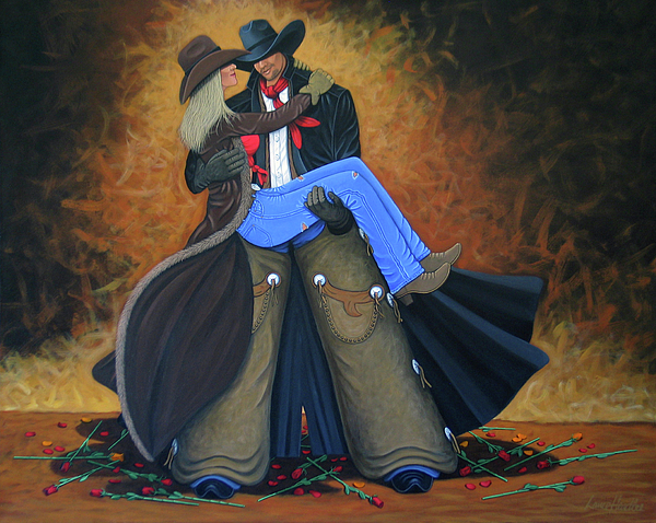 Cowgirl Painting - Threshold by Lance Headlee