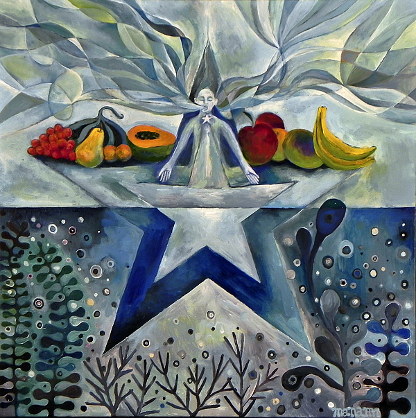 Throat: Star; Aquamarine/sky; Images Of The Throat Being A Conduit Of The Heart's Passions; Expression; Eating; Fruits; Seaplants Painting - Throat by Manami Lingerfelt