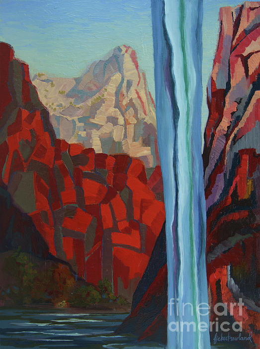 Zion Painting - Through The Narrows, Zion by Erin Fickert-Rowland