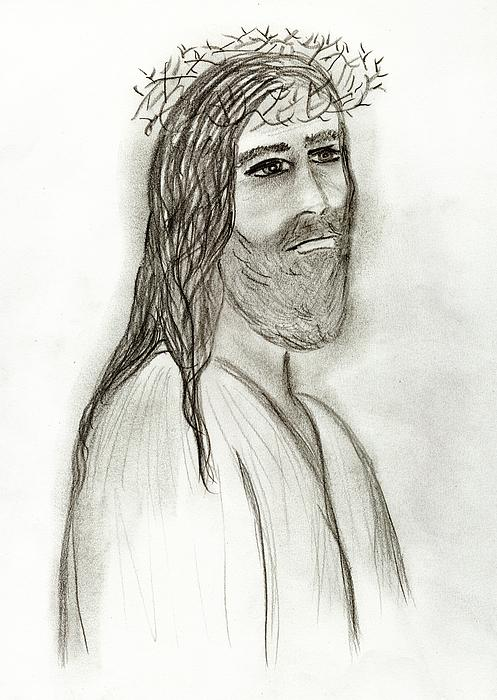Jesus Drawing - Thy Kingdom Come by Sonya Chalmers