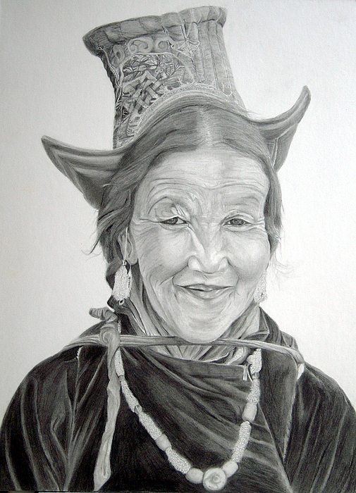Drawing Drawing - Tibetan Delight by Portraits By NC