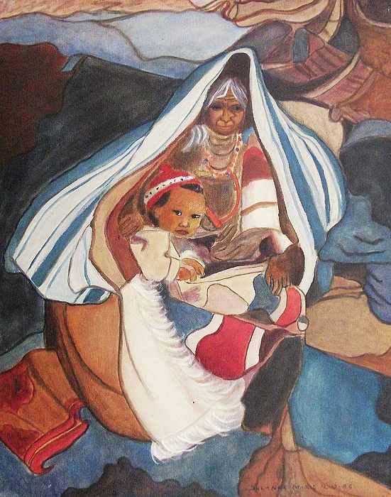 Tibetan Grandmother Painting - Tibetan Grandmother And Baby by Suzanne  Marie Leclair