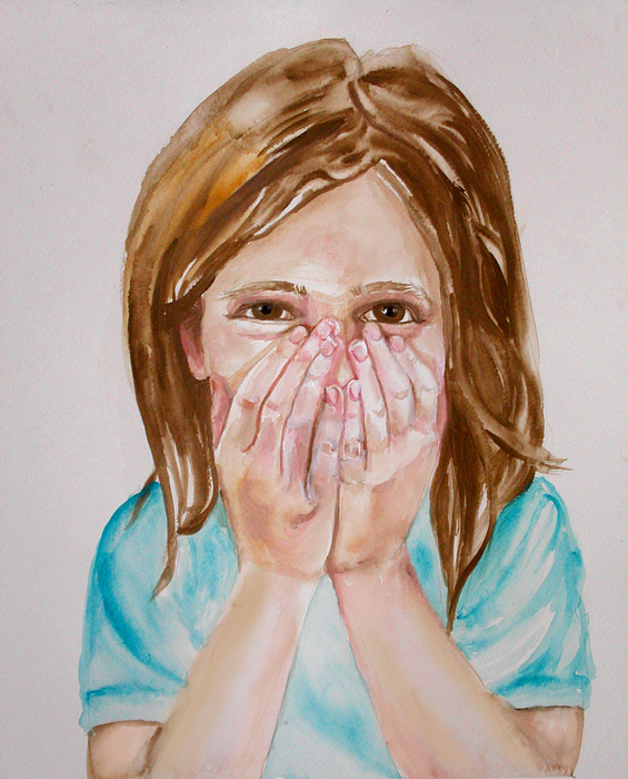 Little Girls Painting - Tickled Pink by Anne Cameron Cutri
