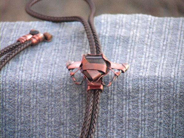 Copper Jewellery Jewelry - Tiger Eye Copper-tied Bolo by Barton Rogers