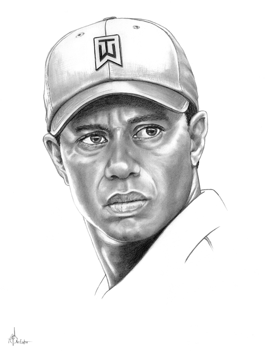 Tiger Woods Drawing - Tiger Woods by Murphy Elliott