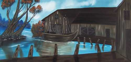 Boat Painting - Tight Fit  by Sheldon Kiroff