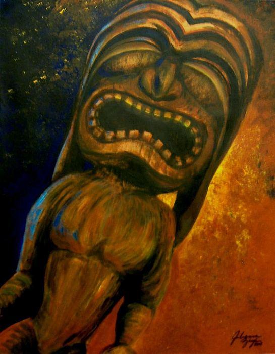 Tiki Painting - Tiki II by Julianna Ziegler