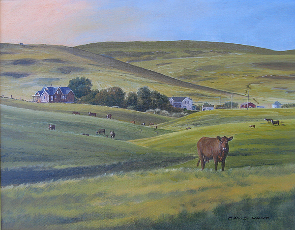 Foothills Painting - Till The Cows Come Home by David Hunt