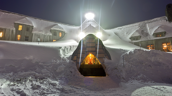 Timberline Lodge Photograph - Timberline Lodge Entry Mt Hood Snowdrifts by Dustin K Ryan
