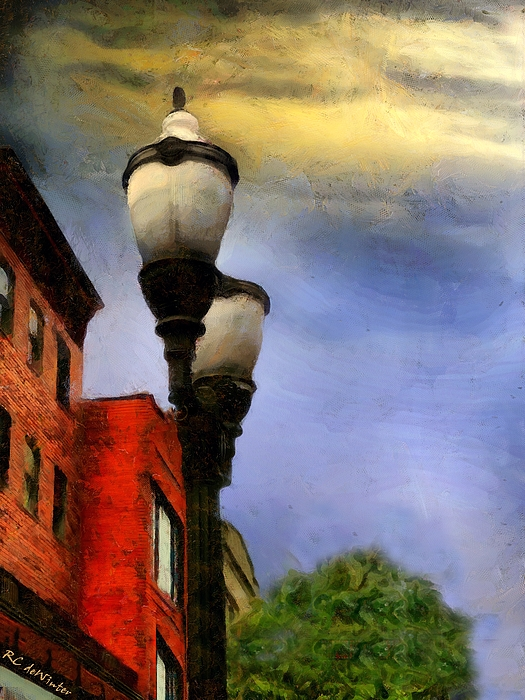 Streetlights Painting - Time To Light The Lamps by RC deWinter
