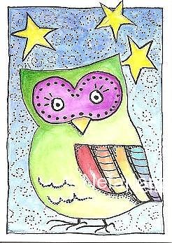 Watercolor Mixed Media - Tiny Owl by Jenna Taylor