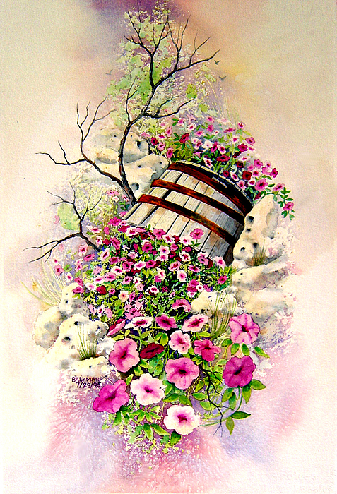 Floral Painting - Tipsy Whiskey Barrel by Brooke Lyman