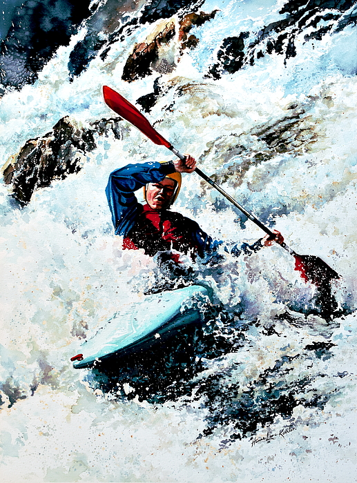 Kayak Painting - To Conquer White Water by Hanne Lore Koehler