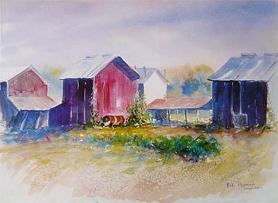 Fields Painting - Tobacco Barns North Of Beargrass by Bob Pittman
