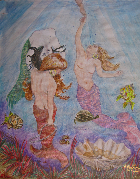 Mermaids Painting - Toe Tickle by Penfield Hondros