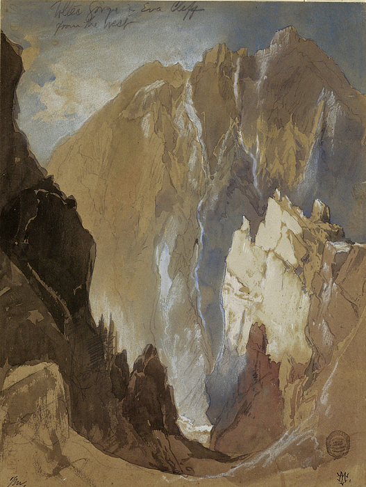Thomas Moran Drawing - Toltec Gorge And Eva Cliff From The West, Colorado, 1892 by Thomas Moran