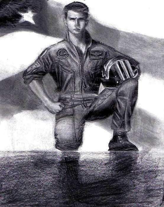 Tom Cruise Drawing - Tom Cruise Top Gun by Katie Alfonsi