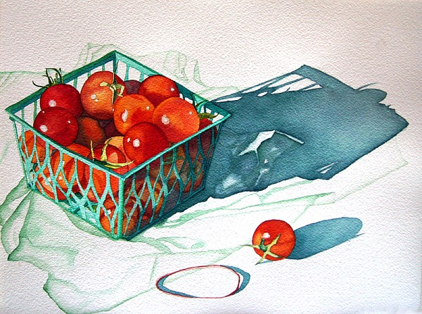 Tomatos Painting - Tomato Basket by Gail Zavala