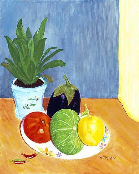 Tomato Painting - Tomato-squash-lemon-egg Plant by Thi Nguyen