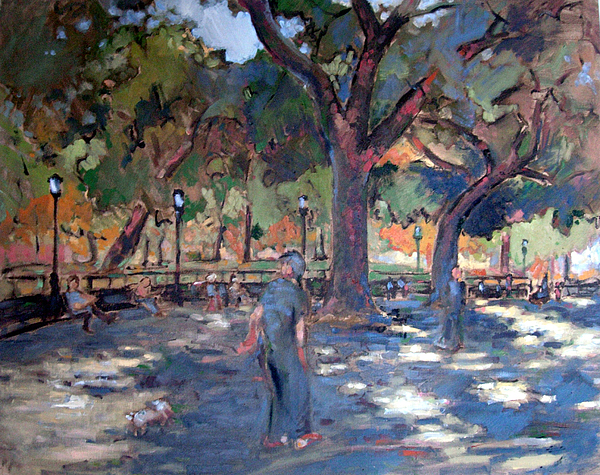 Landscape Painting - Tompkins Sqaure New York City by Nathan Mellott