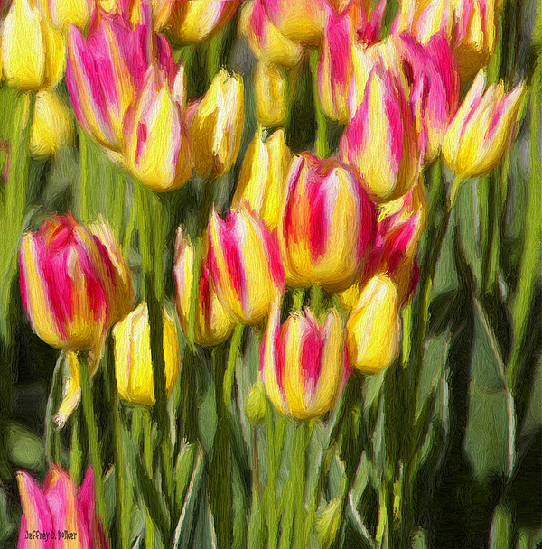 Tulips Painting - Too Many Tulips by Jeffrey Kolker