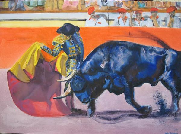 Bull Painting - Toro Azul by Karla Cecilia Rodriguez