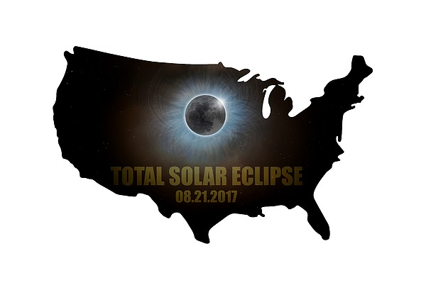 Total Solar Eclipse In United States Map Outline Digital Art by David Gn
