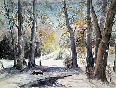 Winter Scene Print - Touch Of Spring by Veda Hale