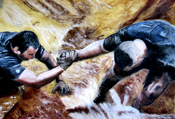 Buddies Painting - Tough Mudder Wounded Warrior Contest by Maris Sherwood