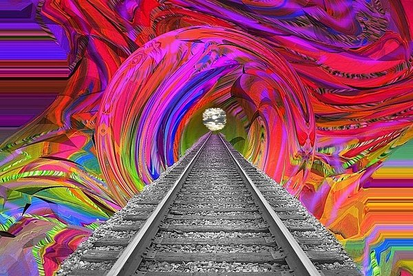 Train Digital Art - Track To Infinity by Sandie Smith