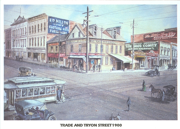 Charlotte Painting - Trade And Tryon Street 1900 by Charles Roy Smith