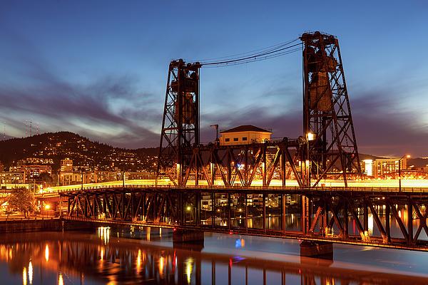 Steel Bridge Photograph - Traffic Light Trails On Steel Bridge by David Gn