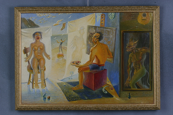 Surrealism Painting - Tragic Beautiful Sublime Comical And Vulgar by Denis Hmylnin