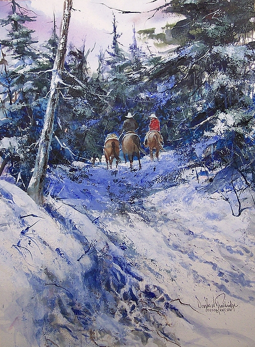 Mountain Painting - Trail To Winter Camp by Douglas Trowbridge