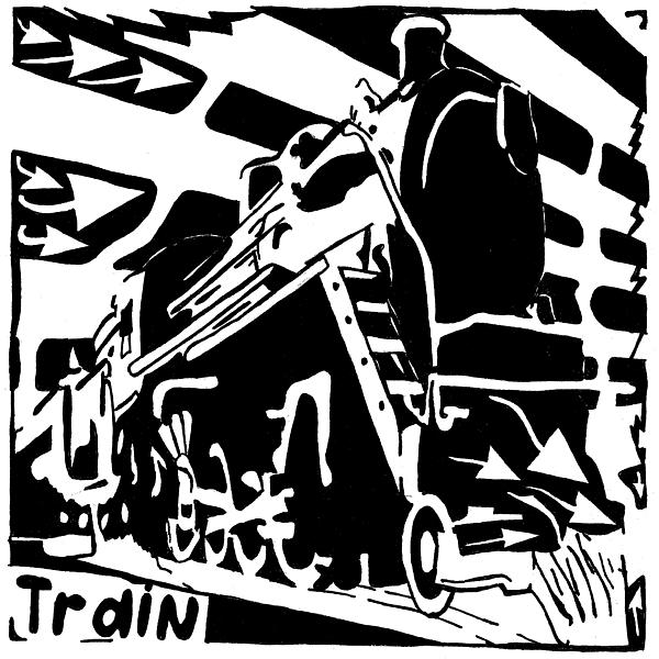 Maze Drawing - Train Maze by Yonatan Frimer Maze Artist
