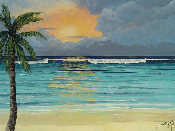 Ocean Painting - Tranquil Sunset by Barbara Keel