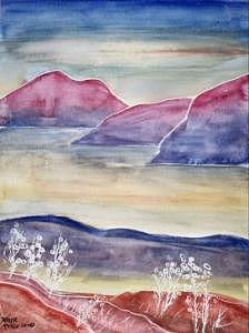 Watercolor Painting - Tranquility 2 Mountain Modern Surreal Painting Print by Derek Mccrea