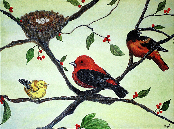 Birds Painting - Tranquility by Ann Ingham