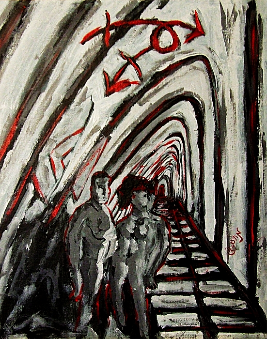 Red Painting - Transgender Entity Nude In Modern Hallway With Arches And Gender Symbols Of Trans Changes Struggle by MendyZ M Zimmerman